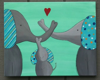 Elephant NURSERY ART Painting on a 16 x 20 inch Canvas family of elephants Wall Hanging Baby shower gift Family of Elephants