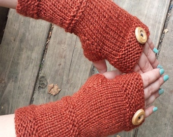 Knit Fingerless Gloves with Vintage Button -  Handmade Fingerless Gloves -Upcycled Fingerless Gloves -  Arm Warmers - Fingerless Mittens