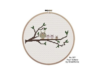 Four Sisters, Owls, Counted Cross Stitch Pattern , PDF cross stitch, No.187, Graph
