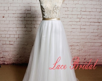Lace Wedding Dress Beaded Wedding Dress Floral Wedding Dress with Tulle Skirt