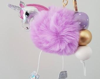 Fluffy Purple Wooden Bead Keyring - Bag Charm