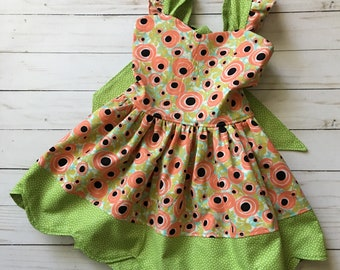 Baby Girl 12-18 Months Scalloped Dress - Flowers - Ready to Ship