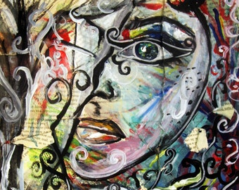 Whats Your Story? Original Mixed Media Painting Print