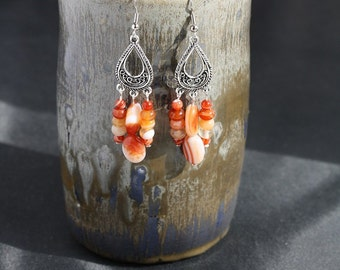 Red Line Agate Chandelier Earrings - Item 1293