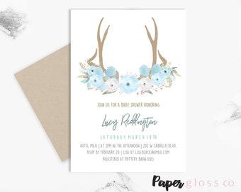 INSTANT DOWNLOAD Baby Shower Invitation Boy, Woodland Printable Invite, Antler, Floral