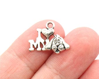 10 Pcs I Love My Dog Charms Pendants Antique Silver Tone 18x13mm - YD0164
