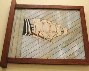 Wooden Lath Ship Art