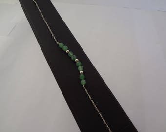 Bracelet made of 925 sterling silver and green Agate beads