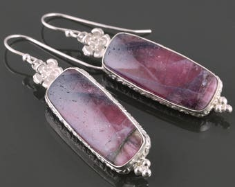 Pink Tourmaline Earrings. Sterling Silver Ear Wires. October Birthstone. Tourmaline Slices. One of a Kind. Gift for Her.  s16e013
