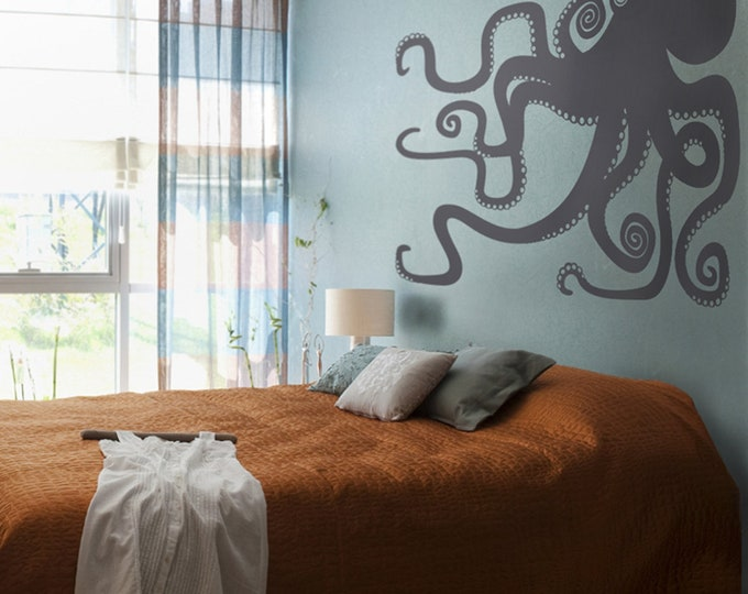 octopus vinyl wall decal large, sticker art, tentacles, octopus wall art, octopus decor, bedroom decor, living room decor, nautical art