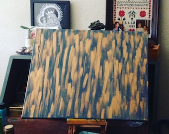 Fields of Gold - Blue and Gold Acrylic Painting on Canvas