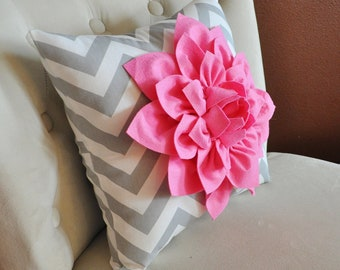 Baby Gift, Baby Pillow Pink Dahlia on Gray and White Zigzag Pillow Baby Shower Gift, custom pillow