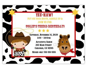 Little Cowboy Or Twins Birthday Invitation (You Print)