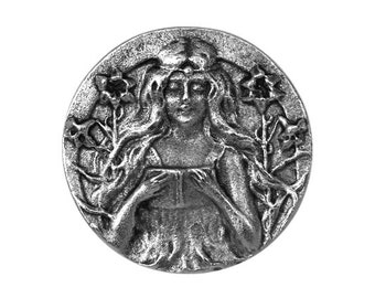 Maiden 1 inch ( 26 mm ) Susan Clarke Metal Button Antique Silver Color