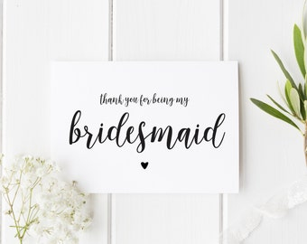 MULTI PACK Bridesmaid Cards, Thank You For Being My Bridesmaid, Pretty Bridesmaid Thank You Card, Wedding Maid of Honour, Flower Girl Card