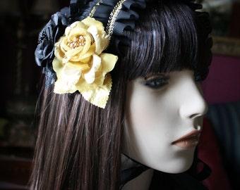 MADE TO ORDER- Gothic Lolita-Kuro-Gothic Lolita Accessories-Lolita headdress-Classic Lolita-Gothic accessory-Maxipad Headdress