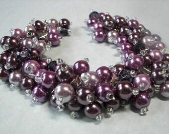 Purple Pearl Cluster Bracelet, Chunky Pearl Cluster Bracelet, Wedding Bracelet, Purple Wedding Jewelry, Bridesmaid Bracelet, Maid of Honor