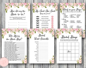 Peonies Bridal Shower Games Package, Instant Download, 6 Games Printable, Game Download, Bridal Shower Activities  WD67 TH13