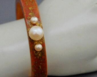 Phylicia - Wood Stacking Bangle, hand made bangle bracelet, pearl wood bracelet, statement bangle, gold flakes, wedding, prom, office wear