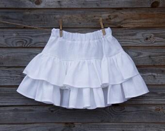 Linen Ruffle Skirt, Flower Girl, Rustic Wedding, Tiered Skirt, White  Linen, Country Skirt, Handmade, Custom Sizes