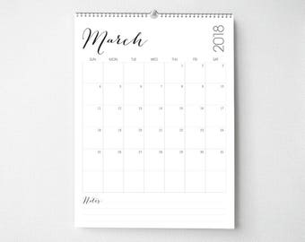 2018 Monthly Wall Calendar, 8.5x11, Wall Calendar, Modern Gifts for Her  (cal0055)