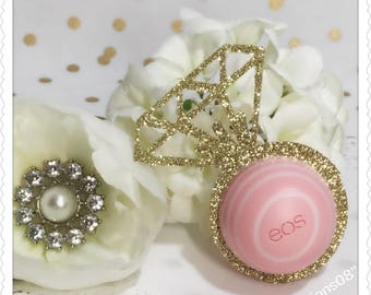 12 Gold Glitter Ring EOS Lip Balm Holder