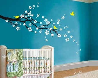 FREE SHIPPING - cherry blossom with flying birds - wall decal tree decal nursery wall decal baby name vinyl decal kids wall decor