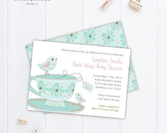 Baby Shower Invitation- DIY Printable  / High Tea / Afternoon Tea / Tea Cup / Baby Shower / Sip 'n See / Open House