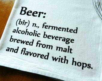 Beer Kitchen Towel Printed with Dictionary Description of Beer, Flour Sack Dish Towel, Bar Towel, Pub, Man Cave Decor
