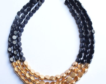 Lisa - Black Gold Wood Multi Strand Bridesmaid Necklace