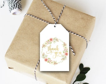 Floral Wreath Thank You Tags, Favor Tag, Wedding Thank You, Birthday Party Tag, Shower Thank You, PDF, Instant Download, Printable File