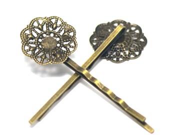 "4 pins/hair barrettes ""flower Crown"", bronze"