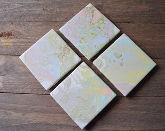 Pastel Unicorn Fluid Art Coaster Set