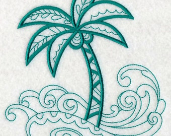 Palm Tree and Waves - Machine Embroidered Quilt Block - Beach - Patchwork Blocks - Kona Cotton - Not Digital Download