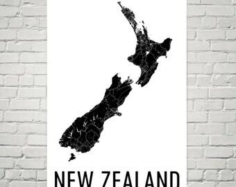 New Zealand Map, Map of New Zealand, New Zealand Art, New Zealand Print, Norway Wall Art, New Zealand Poster, Kiwi Gifts, Kiwi Decor