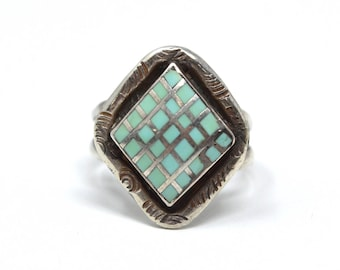 Vintage Native American Turquoise Checkerboard Inlay Sterling Silver Ring - Size 7 - Hand Stamped - 537769906