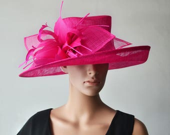Fuchsia Hot pink sinamay hat large dress church hat fascinator with feather flower,for Kentucky derby,wedding party races