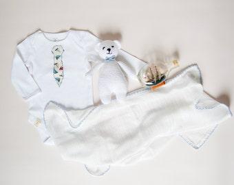 Nautical Style Organic Cotton Baby Bodysuit With Nautical Tie, Nautical Style Tie, Unisex