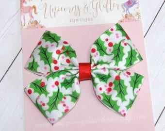 Christmas Holly Hair Bow, Holly Berries Hair Bow, Christmas Outfit, Winter Hair Bow, Holiday Hair Bow, Red White Green Hair Bow