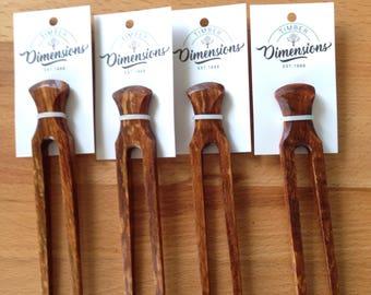 Hair fork, hair pin, Camphor Laurel, figured timber