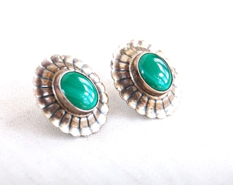 Malachite Post Earrings Southwestern Green Stone Jewelry Vintage Oval Sterling Silver Ruffled Posts Cowgirl Jewelry