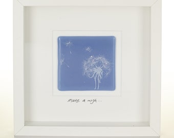 Make a wish, Dandelion Screen-printed fused glass picture, personalised with your own words