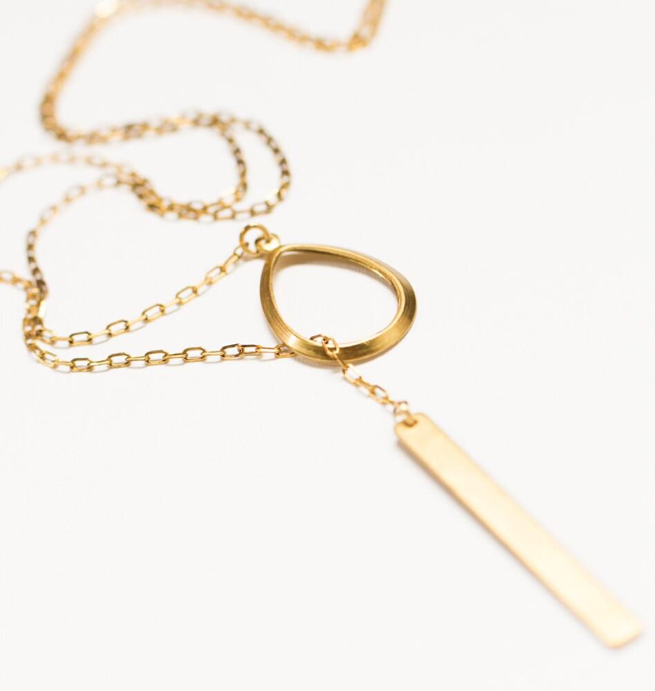 Dainty Y Lariat Necklace Skinny Bar Drop Necklace Dainty
