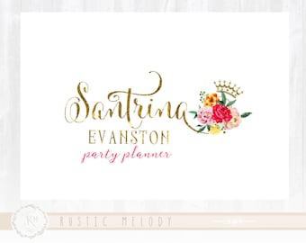 Party Planner Logo Events Logo Floral Logo Decor Logo  Watermark Photography Logo Boutique Logo Gold Foil Logo