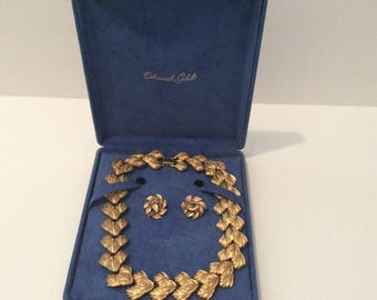 Vintage Napier Gold Toned Textured Choker and Matching Earrings