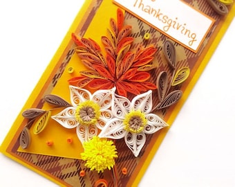 Thanksgiving card/ Thanskgiving quilling card/ Quilling card/ 3D Thanksgiving card/ Flowers/ Give thanks/ Autumn card/ Orange/Leaves