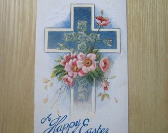 Vintage Easter Postcard, Easter Greeting, Old Postcard, Cross, Happy Easter, Collectible, Paper Ephemera, Old Print, Postcard, Easter