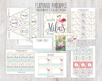 Flamingo Pineapple Birthday Party Package - Printable