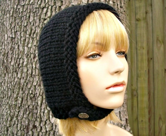 Hand Knit Hat Womens Hat - Pixie In Training Aviator Hat in Black Knit Hat - Black Hat Black Hood Black Beanie Winter Hat - 34 Color Choices