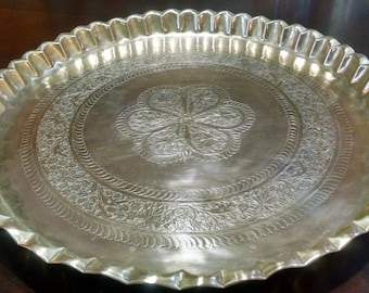 Vintage Brass Tray / Brass Charger / Butler's Tray / Huge Brass Tray / Etched Tray / Ornate Tray / 22 Inch Brass Tray /  Brass Serving Tray
